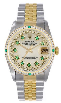 Rolex Datejust Mens 2 Tone White MOP String & Emeralds - Diamonds & Green Bezel #Rolex #Dress