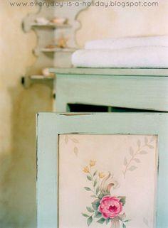 Vintage Floral Painted Cupboard
