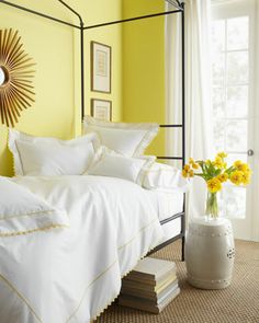 sunshine-hued bedroom  http://rstyle.me/n/f62hqpdpe