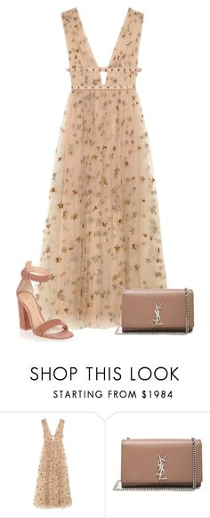 """09/24 IV"" by marianamenes19 ❤ liked on Polyvore featuring Valentino, Yves Saint Laurent, Gianvito Rossi, cute, valentino, rose, saintlaurent and valentinodress"