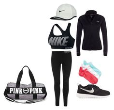 """""""time to workout"""" by alexa-barnes on Polyvore featuring NIKE, women's clothing, women's fashion, women, female, woman, misses and juniors"""