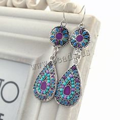 Zinc Alloy Drop Earring, iron earring hook, Teardrop, antique silver color plated, with resin rhinestone & enamel, lead & cadmium free, 20x50mm, 3Pairs/Bag,china wholesale jewelry beads
