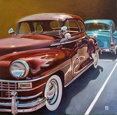Realist Oil Painting of Antique Cars by Karen Goldberg