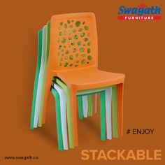 The unique airy backrest of stackable Enjoy #chair gives you comfort and is the ideal #furniture for both indoors and outdoors. Contact us for more details at www.swagath.co !!