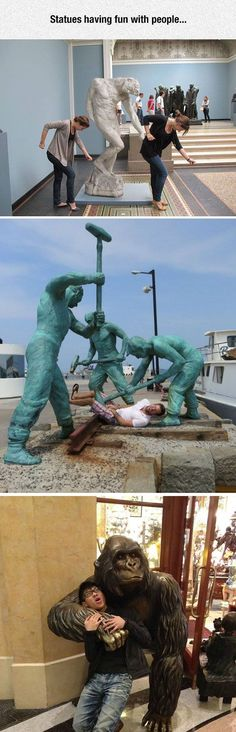 Statues Having Fun With People