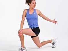 The Knee Hug Lunge and Twist stretches your torso, glutes, hamstrings and hips—getting you ready for an effective workout.