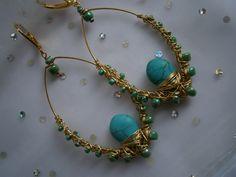 Goße Ohrringe mit Türkis und Keramik in wirework von kunstpause auf DaWanda.com