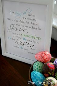 He is risen Easter printable.  Easy to do and frame for Easter decor.