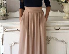 Navy Blue- Cappuccino Maxi Women's Dress 3/4 Sleeves Pockets