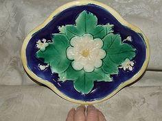 Antique Majolica Early Quatrefoil Shape Lotus Flower Leaf Dish Cobalt Blue