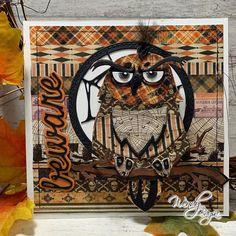 Halloween Paper Crafts, Halloween Tags, Halloween Projects, Handmade Greetings, Greeting Cards Handmade, Tim Holtz Dies, Owl Card, Halloween Scrapbook, Scrapbook Cards