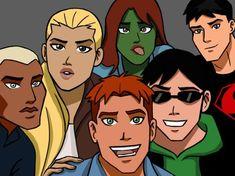 Young Justice. Kaldur'ahm (Aqualad), Artemis Crock (Artemis), M'gann M'orzz (Miss Martian), Connor Kent (Superboy), Wally West (Kid Flash) and Dick Grayson (Robin)