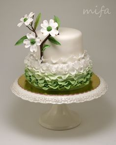 Ruffle Dogwood Cake - Fondant ruffles and gumpaste dogwood flower