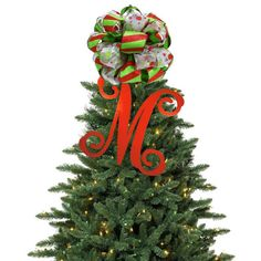 Stop by www.facebook.com/charmedsouth for a GIVEAWAY ON OUR MONOGRAM TREE TOPPER. painted wood, xmas trees, christmas tree toppers, initials, monogram, christma tree, ribbon bows, script, christmas trees