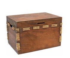 Baúl de madera y cuerda - pequeño