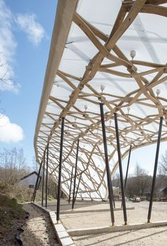 The Hooke Park Timber Seasoning Shelter, designed and built by four students of the 2012-13 Design & Make cohort and fabricated from steam-bent beech ...