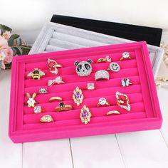 Red velvet ring plate stud earring storage box jewelry organizer
