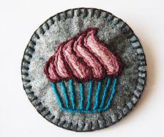 Cupcake Felt Brooch