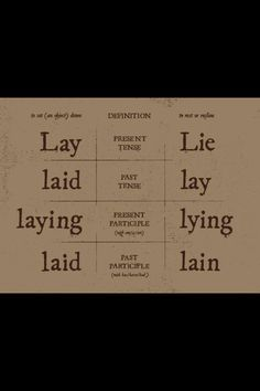 Lay vs lie
