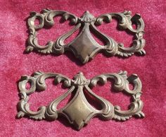 2 Antique Ornate Brass Back Plates for Drawer Pulls or Handles, Lacy Brass Rococo or Victorian Design.