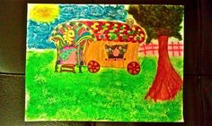 So parentally I'm very creative when I'm on pain meds... Gypsy wagon painting I made after my breast augmentation surgery. Uploading more paintings......