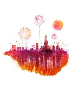 Firework in Tokyo celebration joy Japan by yeohghstudio on Etsy, $30.00