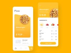 Custom Pizza Store designed by orange _ for UDS. Connect with them on Dribbble; Ios App Design, Mobile App Design, Interface Design, Mobile Ui, Apps, App Design Inspiration, Branding, Layout, Pizza Store