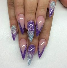 The Stunning Summer Nail Art Designs For Short Nails Nail Art Connect NagelDesign Elegant ( Fabulous Nails, Gorgeous Nails, Stiletto Nail Art, Acrylic Nails, Colorful Nail, Trendy Nail Art, Purple Nails, Purple Glitter, Silver Ombre