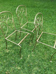 3 Gold Vintage Wrought Iron Garden Chairs - #reloveddesignsbydanielle