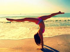 Awesome gymnastics on beach!