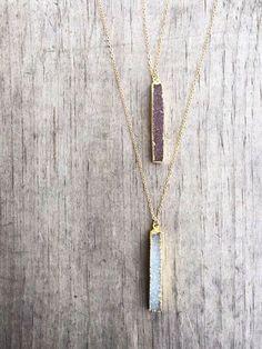 Druzy Bar Necklace / Druzy Necklace / Vertical Druzy by niccoletti♡➳ Pinterest: miabutler ♕☾♡