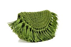 "Information: - Clutch crochet bag - Material: satin thread (100% polyester) and a thinner thread ""in ton sur ton"" on the lid (100% polypropylene) - The fringes are made with the same threads - Color:"