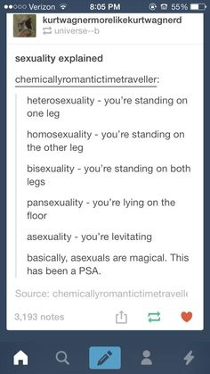 Sexuality explained/PSA asexuals are magical <<< asexuals are fucking magical *le asexual flys away riding a rainbow pooping unicorn backwards* Saga, Ace Pride, Tumblr Posts, Genderqueer, Tumblr Funny, Equality, Just In Case, Hilarious, Thoughts