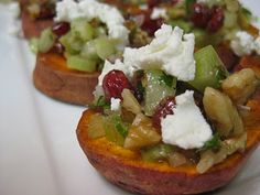 Sweet Potatoes with Pecans, Goat Cheese, and Celery..I need the recipe for this. Pronto.