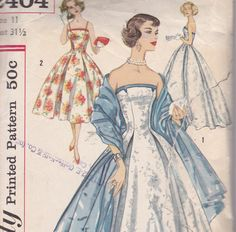 1957 Debutante evening dress and stole in 2 lengths Size 11 Simplicity 2404 strapless or slim straps 50 Style Dresses, Vintage Style Dresses, Vintage Outfits, Vintage Fashion, Classic Fashion, Vintage Ball Gowns, Thing 1, Vintage Sewing Patterns, Dress Patterns