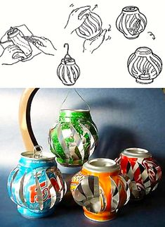 How to breathe new life into tin containers Visit Aluminum Can Crafts, Metal Crafts, Recycled Crafts, Easy Crafts, Diy And Crafts, Paper Crafts, Coke Can Crafts, Pop Can Art, Art Pop