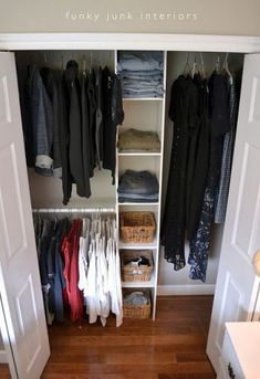 How-to build the easiest clothes closet ever with a ClosetMaid closet kit by Funky Junk Interiors. Pre made based on size of closet.
