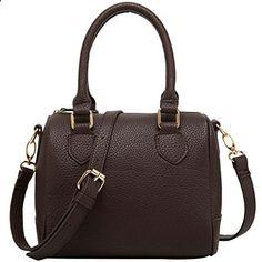 FASH Charming Bowling Handbag Style Barrel Office Purse Shoulder Handbag,Brown,One Size. Visit website to read more description.