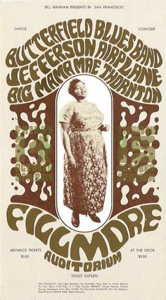 October 14-16 1966 Artist Wes Wilson. Postcard for Butterfield Blues Band, Jefferson Airplane, Big Mama Thornton at Fillmore Auditorium © 1966 Bill Graham © Wes Wilson