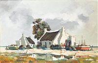 Fisherman's cottage by Pierre de Villiers Landscape Art, Landscape Paintings, Acrylic Paintings, Art Paintings, Fishermans Cottage, Cottage Art, South African Artists, Fine Art, Pastel