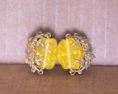 vintage signed MIRIAM HASKELL poured Yellow Glass & Brass Clip-on screw Earrings #MiriamHaskell