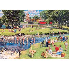 Trevor Mitchell 'At The Picnic Spot' Canvas Art Black, Trademark Fine Art Wall Art Prints, Canvas Wall Art, Poster Prints, Picnic Spot, Puzzle Art, Artist Canvas, Countryside, Jigsaw Puzzles, Fine Art