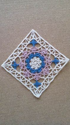 Lacy crochet square block motif