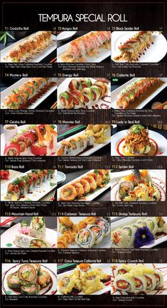 Fusion Sushi Japanese Restaurants - Manhattan Beach and Long Beach in California Sushi Roll Menu, Sushi Roll Recipes, Japanese Menu, Japanese Food Sushi, Diy Sushi, Sushi Party, Best Sushi Rolls, Types Of Sushi Rolls, Homemade Sushi Rolls