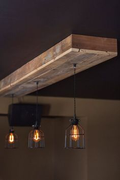 Reclaimed Barn Wood Siding Fixture with Caged by 7MWoodworking #Lamp
