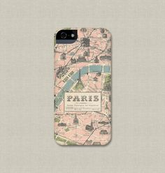 Phone Case, Vintage Paris Map, iPhone 5, iPhone 4 / 4S, Galaxy Note, S3 / S4, or iPod Touch Cover