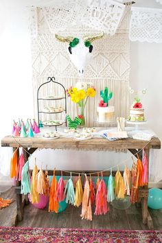 When it comes to creative party themes, this colorful fiesta makes wonderful inspiration for your next baby shower. The tissue paper tassel garland, pom poms, and unique desserts make celebrating with your girlfriends so fun!