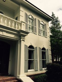 Custom made arched exterior shutter enhance the curb appeal of this home!  Why wait to upgrade your home?  We offer 0% financing!  Give us a call today. #curbappeal #shutters
