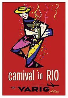 carnival,rio,rio de janeiro,brazil,varig airlines,samba,vintage airline travel poster,vintage travel poster,retro,poster art,vintage advertising,vintage travel,