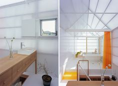 house in yamasaki by tato architects - white bright, orange shower curtain, plants